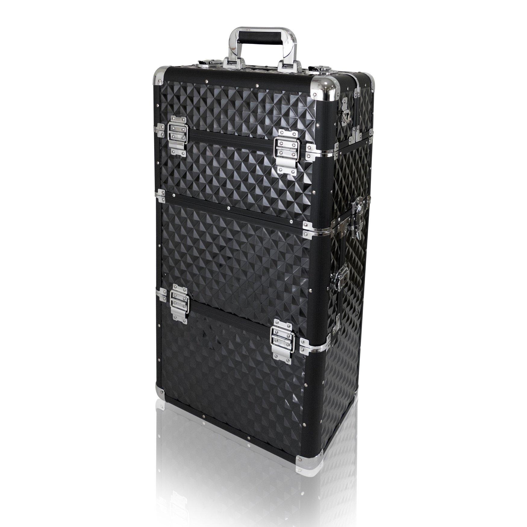 NANI dvoudílný kosmetický kufřík na kolečkách - Black 3D