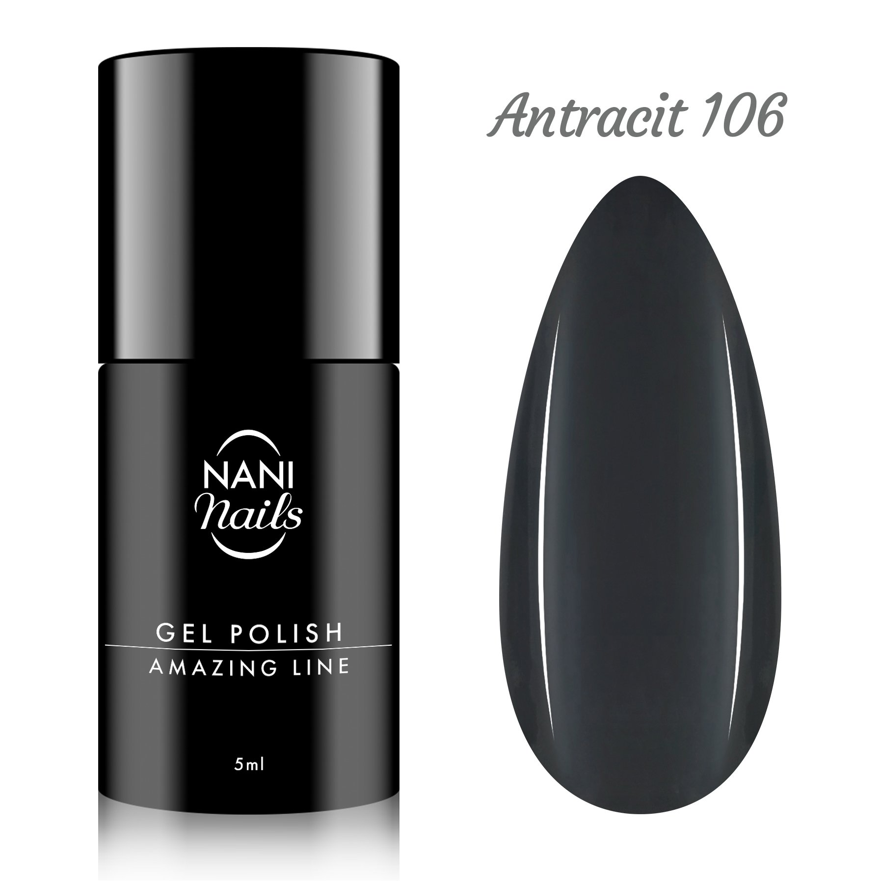 NANI gel lak Amazing Line 5 ml - Antracit